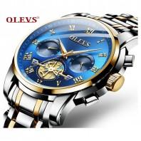 Men Quartz Date Tourbillon Chronograph Stainless Steel Hollow Waterproof Watches Luxury Fashion Clock