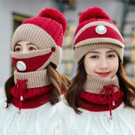 BINGYUANHAOXUAN - 3-in-1 Warm Chunky Knit Beanie Scarf and Mask Set Snow Knit Beanie Infinity Scarves for Women