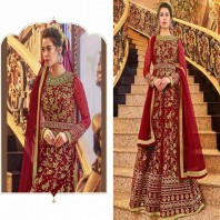 Net Embroidered Anarkali Suit In Maroon Colour 4670
