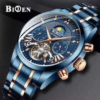 Mens Watches Mechanical Automatic Stainless Steel Skeleton Waterproof 3391