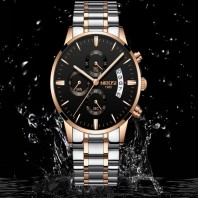 Rose Gold Color Men Watch Luxury Top Brand Mens Watch Fashion Dress New Military Quartz Wristwatch Hot Clock Male Sport NIBOSI 3324