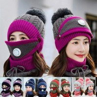 Set 3 Hats Women Winter Beanies Velvet Thick Bib Ear Protector Skulies Beanie Hat Riding Hat Female Warm knitted Wool Cap