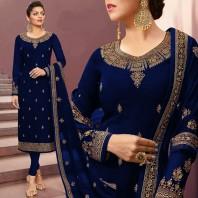 Dark Navy Blue Churidar Suit With Resham Work