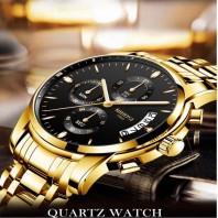 NIBOSI Watch Men Fashion Sport Quartz Clock Mens Watches Top Brand Luxury Business Waterproof Gold Black Watch Relogio Masculino 3320