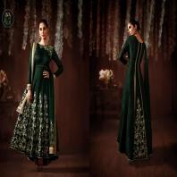 Bottle Green Raw Silk Long Anarkali Salwar Suit-4642