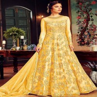 Bulk Designer Heavy Embroidery Work Net Event Wear Semistitched Anrakali Suits Collection-1938