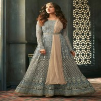 Grey Gleam With Beige Contrast Intrinsic Embroidered Belt Style Flared Anarkali Suit-1944