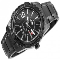 Naviforce Stylish Rope Design Bezel With Day & Date Function Analog Stainless Steel Watch For Men-3144