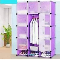 Portable Plastic storage wardrobe-432