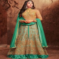 Sonal Chauhan Beige & Green Kurti Style Lehenga-4612