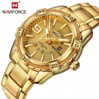 Stylish mens watch water resistant Golden